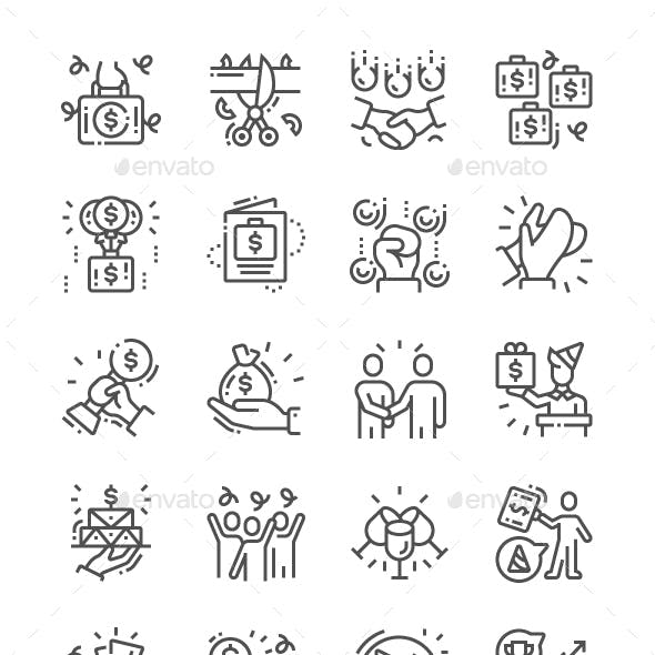 Business Celebrations Line Icons