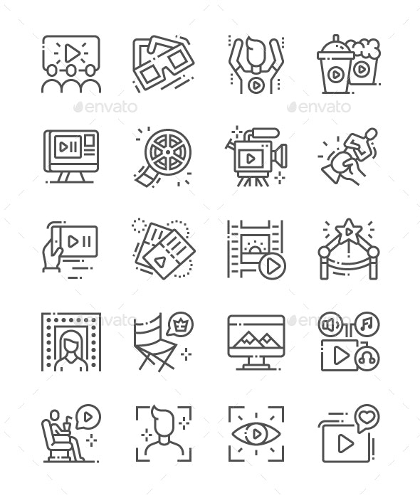 Movie Line Icons - Technology Icons