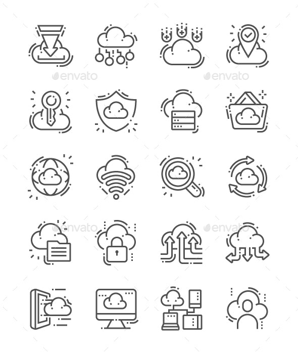 Cloud Computing Line Icons - Business Icons