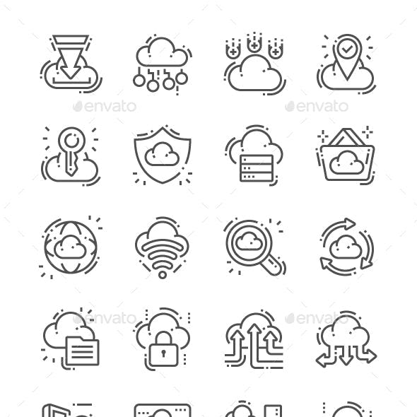 Cloud Computing Line Icons