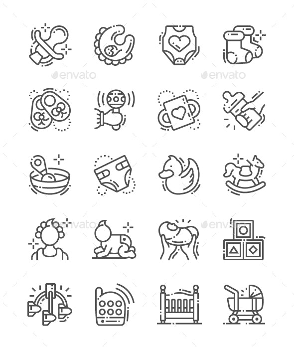 Baby Line Icons - People Characters