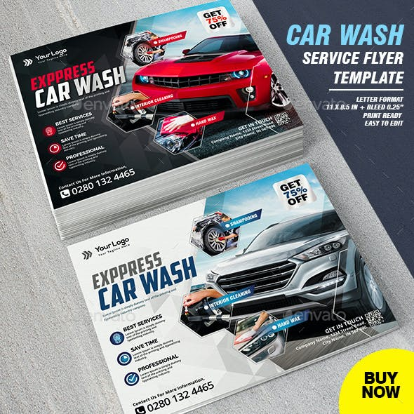 Car Wash Service Business Flyer Template