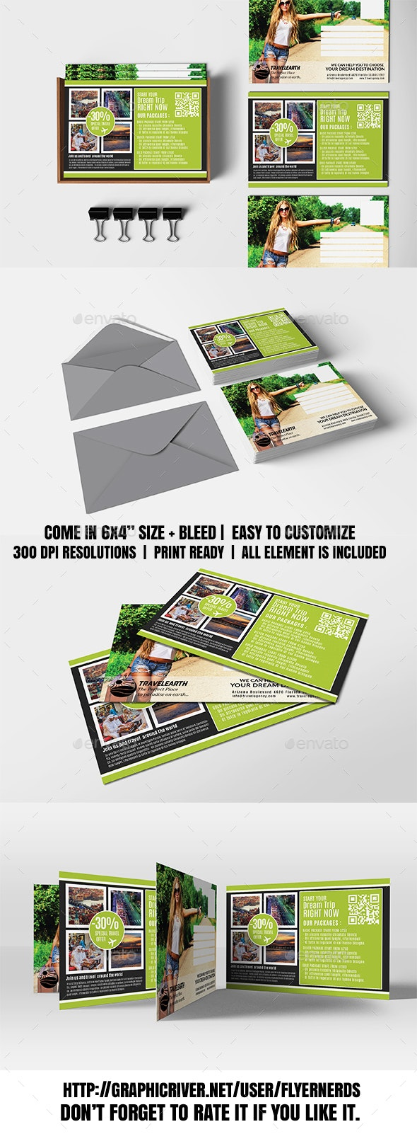 Travel Agency Promotion PostCard - Cards & Invites Print Templates