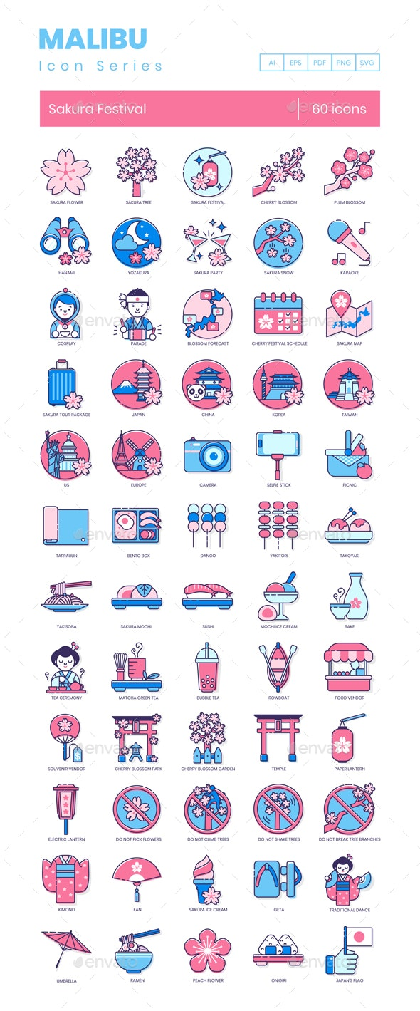 Sakura Culture Icons by Krafted | GraphicRiver