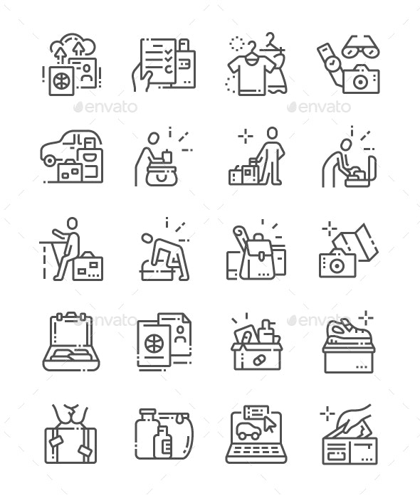 Let's hit the road Line Icons - Technology Icons