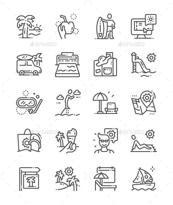 Rest in warm lands Line Icons
