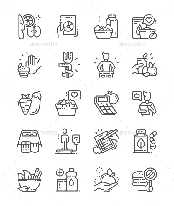Diet Line Icons - Food Objects