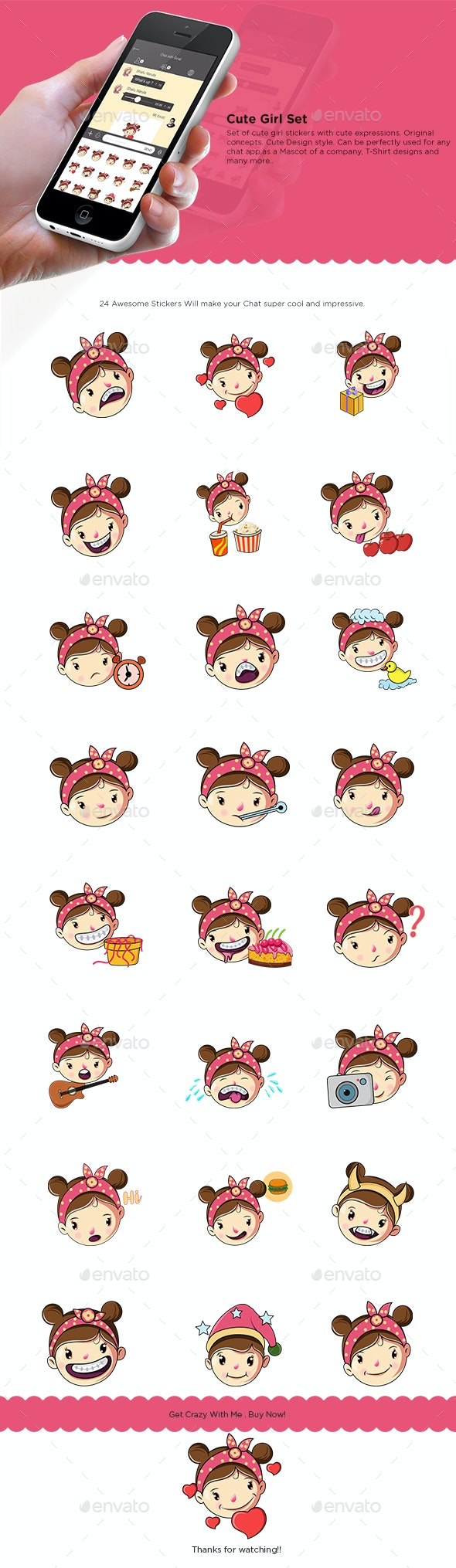 Girl Sticker Set - People Characters