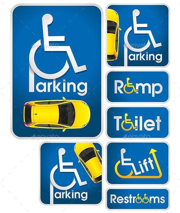 Car Disabled Parking Sign - Miscellaneous Vectors
