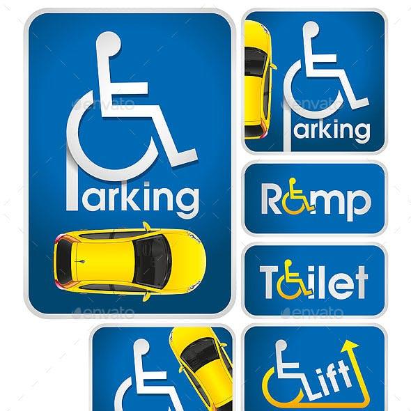 Car Disabled Parking Sign
