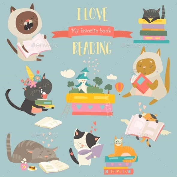 Cartoon Cats Reading Books - Animals Characters