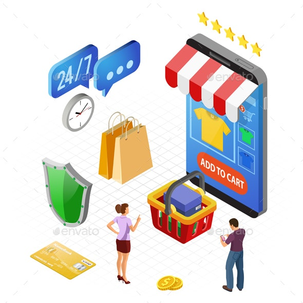 Internet Shopping Online Payments Isometric Concept - Web Technology