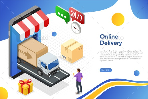 Internet Shopping Online Delivery Isometric Concept - Web Technology