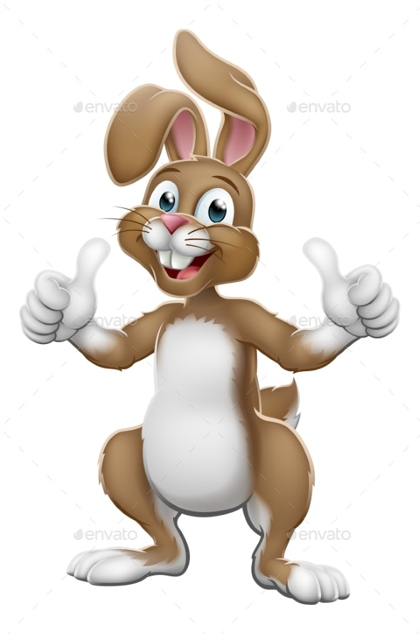 Easter Bunny Rabbit Cartoon Giving Thumbs Up - Miscellaneous Seasons/Holidays