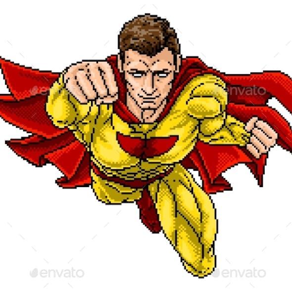 Superhero Pixel Art Arcade Game Cartoon Character