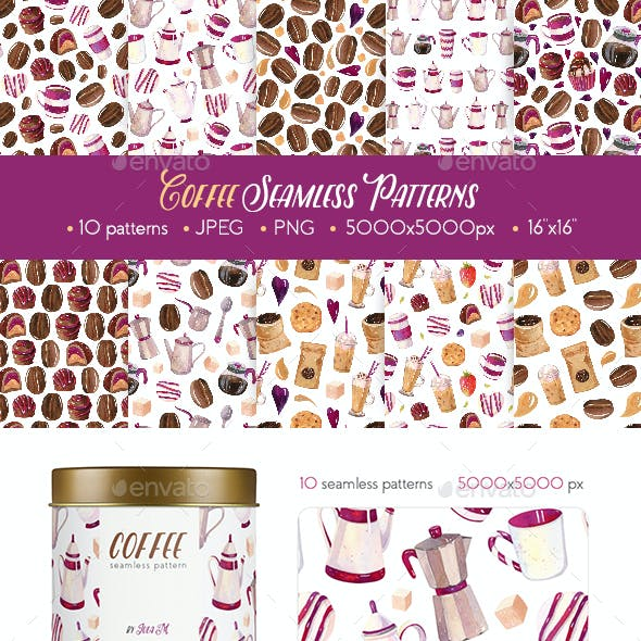 Coffee Watercolor Hand Painted Seamless Patterns
