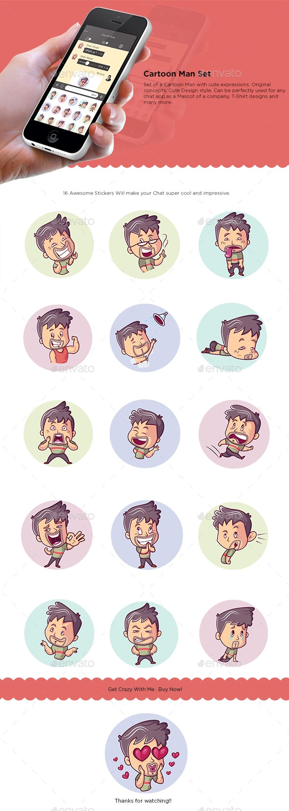 Cartoon Man Set - People Characters