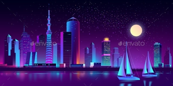Vector Neon Megapolis on River with Yachts - Buildings Objects