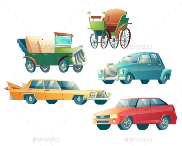 Modern and Retro Cars Cartoon Vector Collection - Man-made Objects Objects