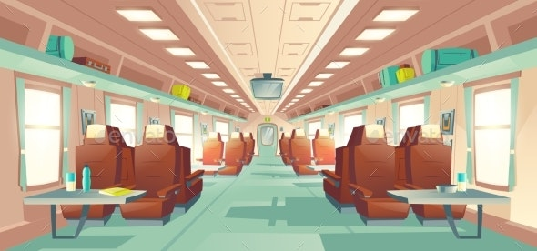 Passenger Train Wagon Interior Cartoon Vector - Technology Conceptual
