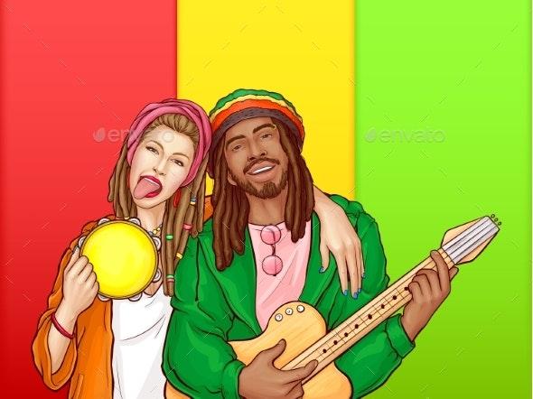 Vector Pop Art Rastafarian Couple - Man, Woman - People Characters