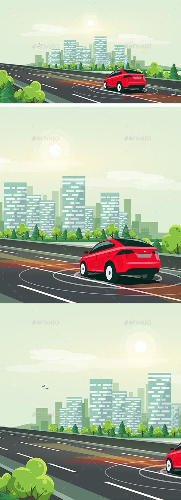 Smart Autonomous Driverless Electric Car Driving - Travel Conceptual
