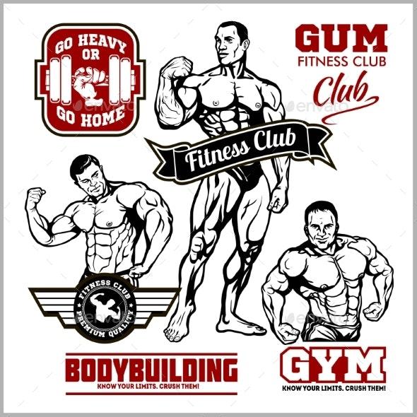 Set of Bodybuilding Emblems with Sport Equipment - Miscellaneous Vectors