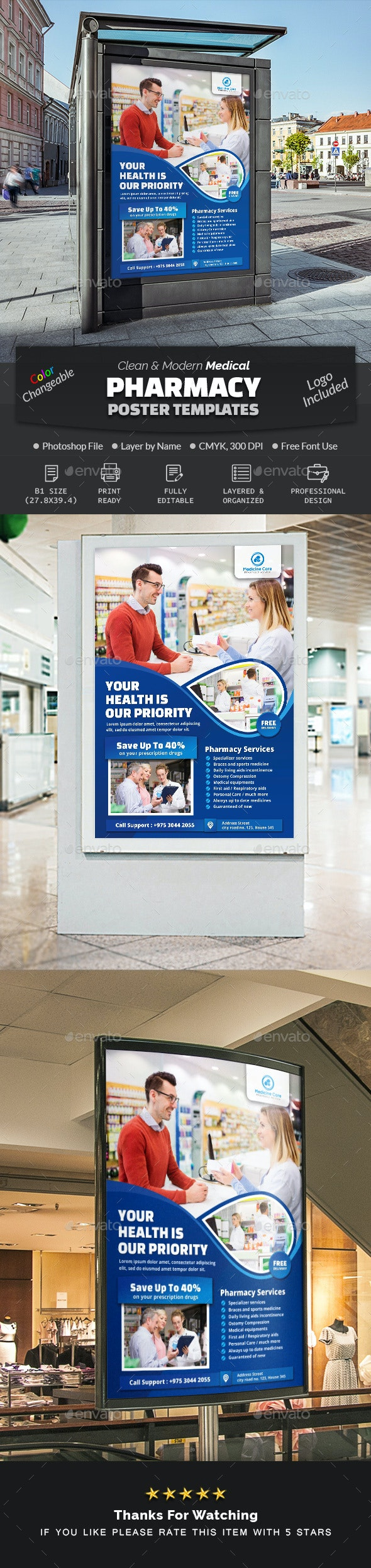Pharmacy Poster Template - Signage Print Templates