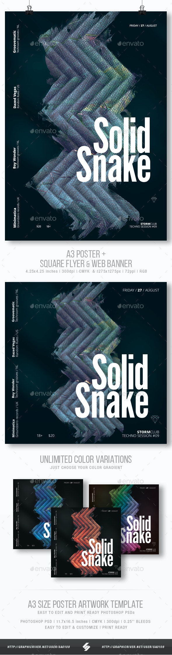 Solid Snake - Minimal Party Flyer / Poster Artwork Template A3 - Clubs & Parties Events