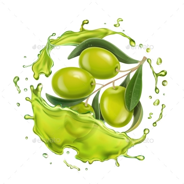Olive Branch in Realistic Olive Oil Splash - Food Objects