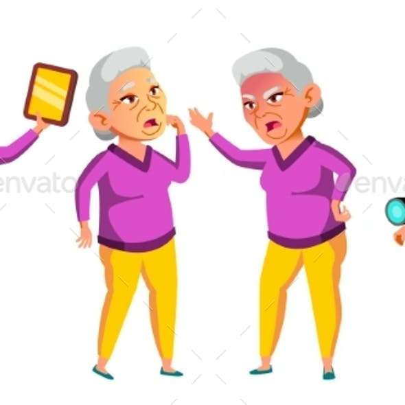 Asian Old Woman Poses Set Vector. Elderly People