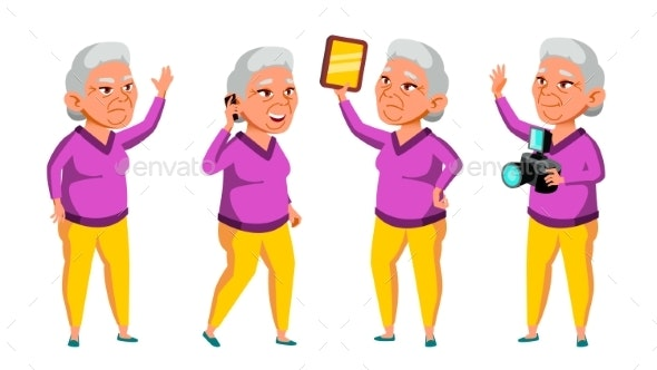 Asian Old Woman Poses Set Vector. Elderly People - People Characters