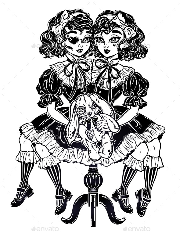 Victorian Twin Siamese Witch Girls - People Characters