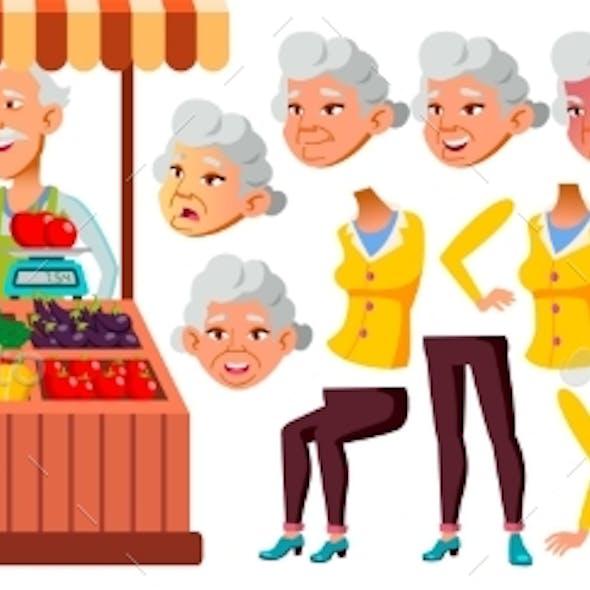 Asian Old Woman Vector. Senior Person Portrait