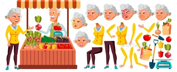 Asian Old Woman Vector. Senior Person Portrait - People Characters