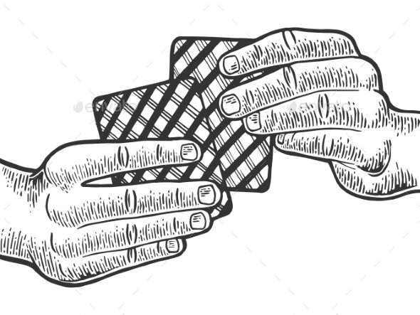 Hands with Playing Cards Engraving Vector - Miscellaneous Vectors