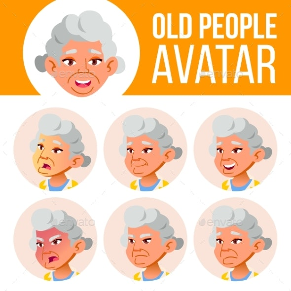 Asian Old Woman Avatar Set Vector. Face Emotions - People Characters