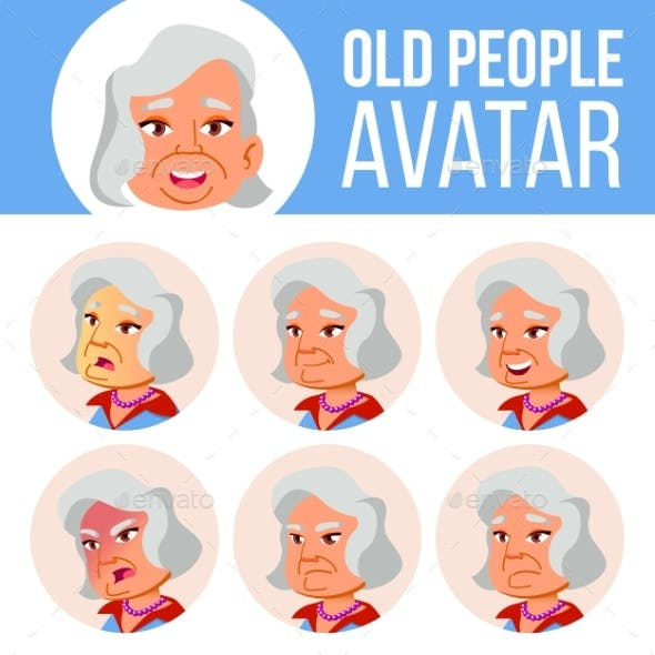 Asian Old Woman Avatar Set Vector. Face Emotions