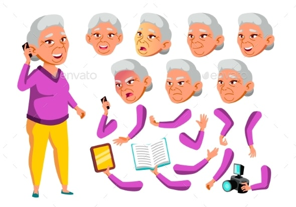 Asian Old Woman Vector. Senior Person. - People Characters