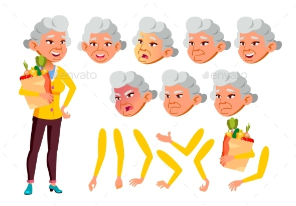 Asian Old Woman Vector. Senior Person. Aged - People Characters
