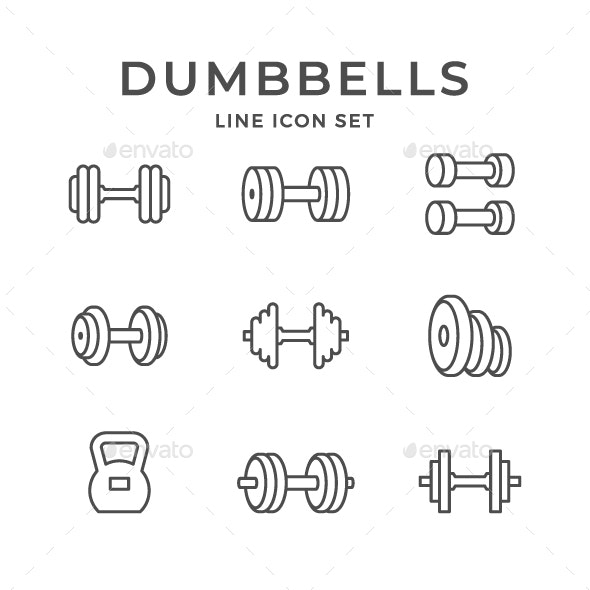 Set Line Icons of Dumbbells - Man-made objects Objects