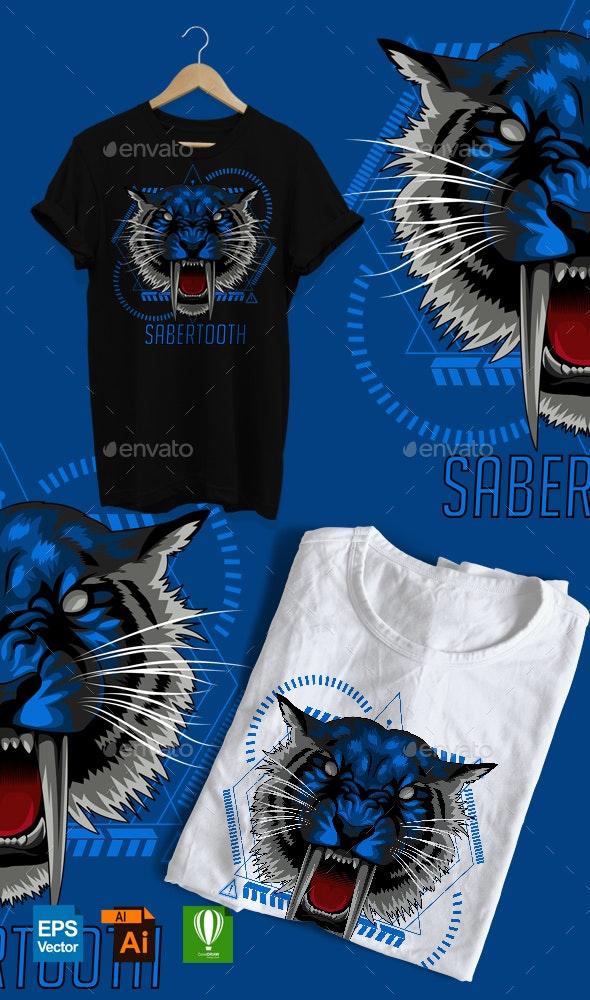 Sabertooth Tiger Design - Designs T-Shirts