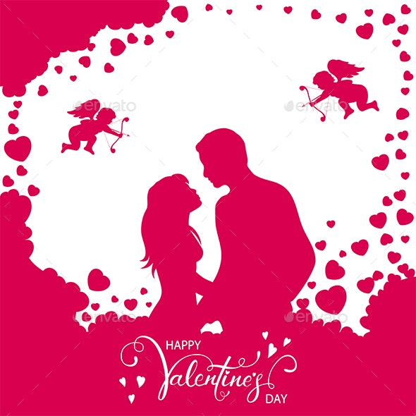 Pink Valentines Background with Loving Couple and Hearts - Valentines Seasons/Holidays