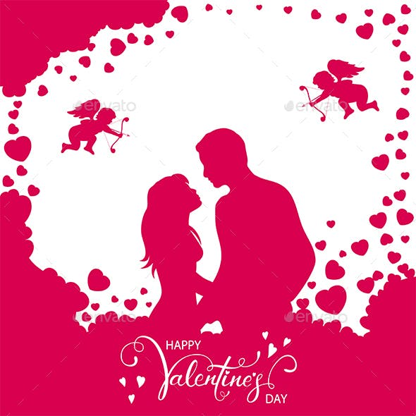 Pink Valentines Background with Loving Couple and Hearts