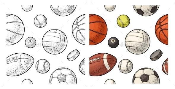 Seamless Pattern Different Kinds Sport Balls - Patterns Decorative