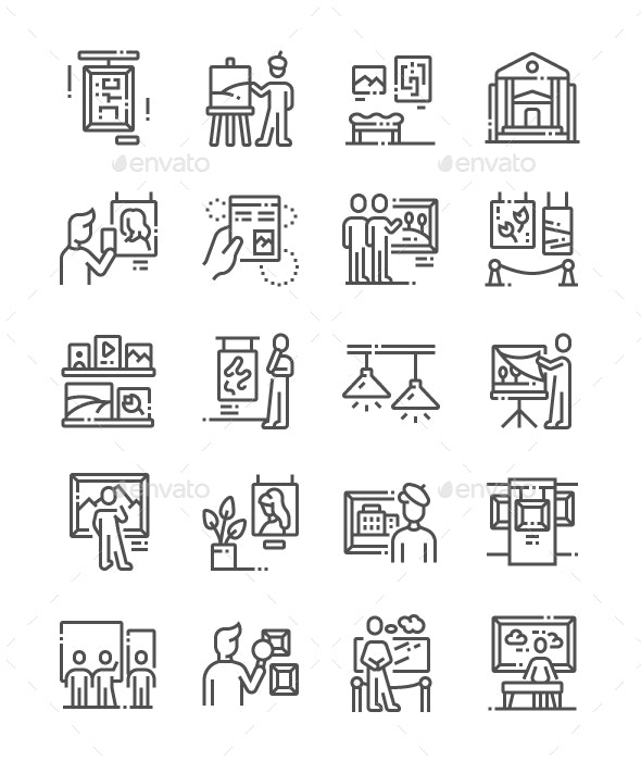 Painting exhibition Line Icons - Miscellaneous Characters