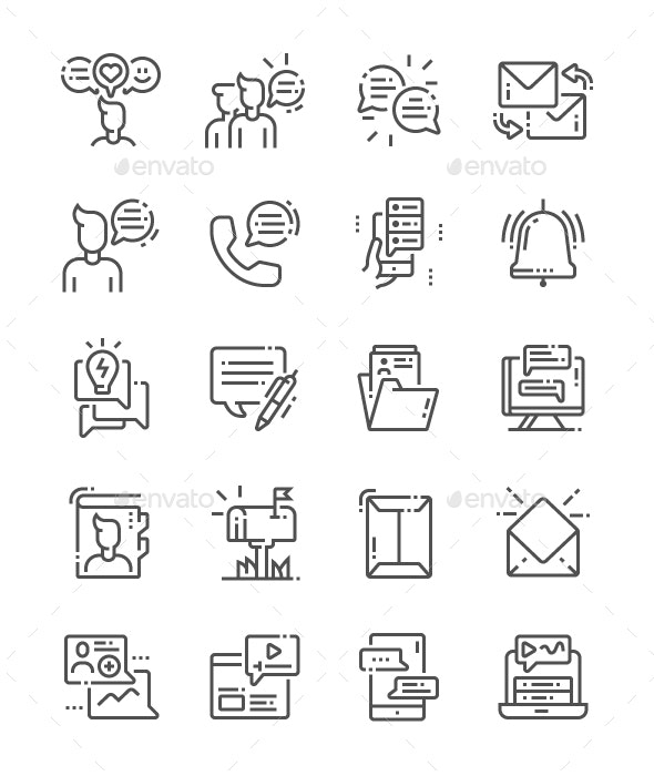 Dialogue assets Line Icons - Media Icons