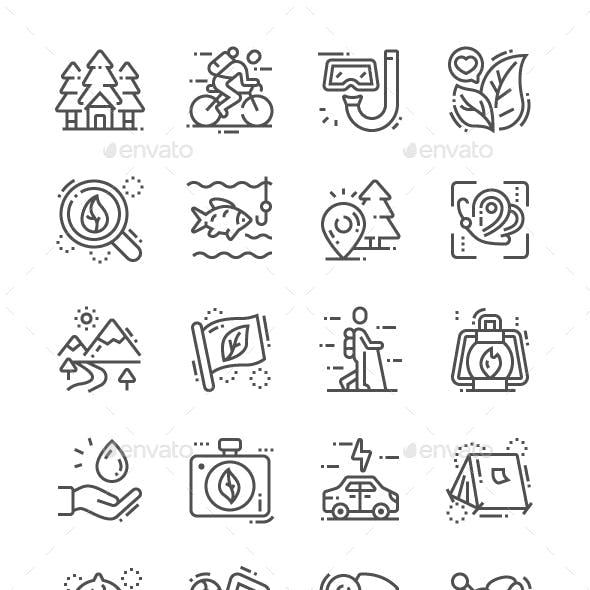 Eco tourism Line Icons