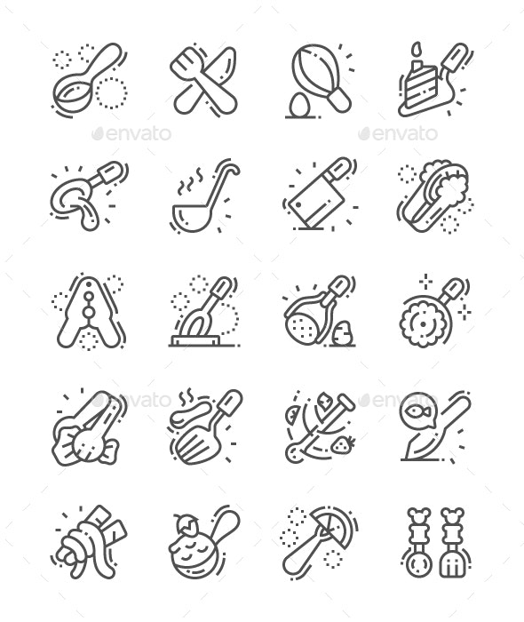 Cutlery Line Icons - Food Objects