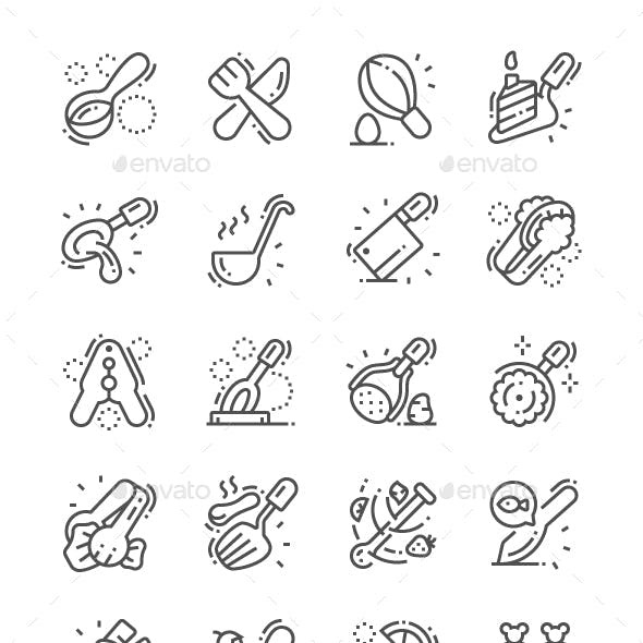 Cutlery Line Icons